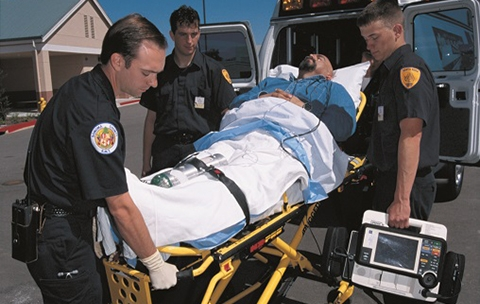 EMC students with a patient on a stretcher